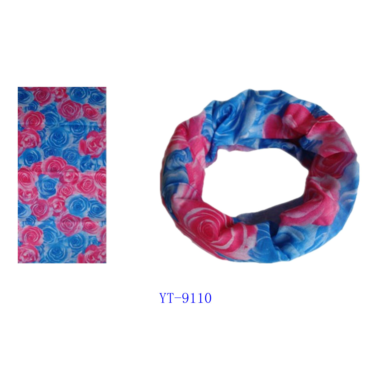 Pink and Blue Rose Flower Design Bandana (YT-9110)
